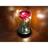 Стабілізована ТРОЯНДА В КОЛБІ З LED ПІДСВІЧУВАННЯМ, нічник, вічна троянда, 17 СМ Найкращий подарунок!, фото 4