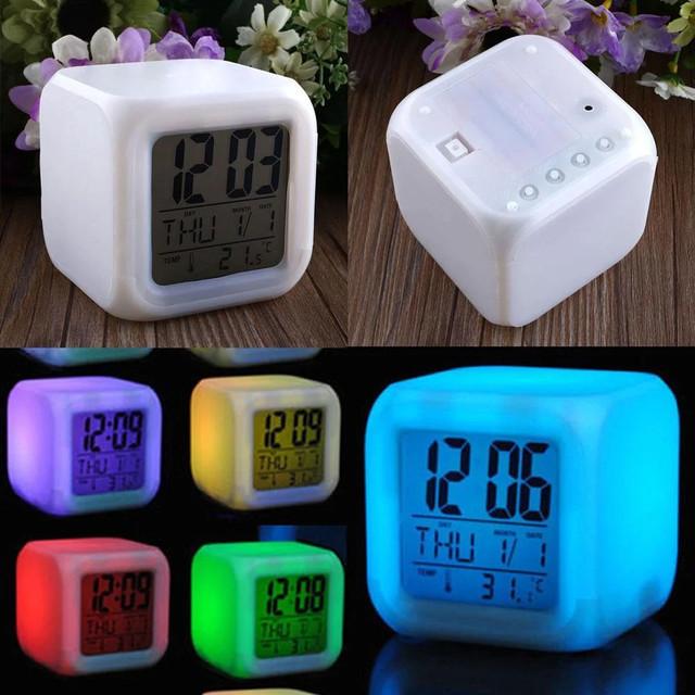 Настольные часы хамелеон электронные, часы-ночник Куб Color change