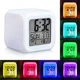 Настольные часы хамелеон электронные, часы-ночник Куб Color change, фото 2