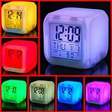 Настольные часы хамелеон электронные, часы-ночник Куб Color change, фото 3
