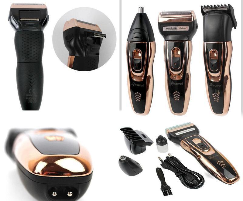 Електробритва сіткова з тримером для бороди GEMEI Geemy GM 595 з акумулятором золотого кольору