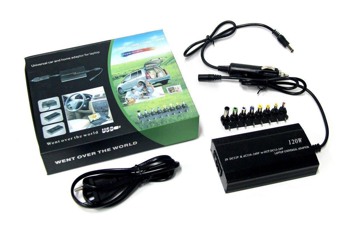 Автомобільна зарядка для ноутбуків універсальна зарядка для ноутбука 12В/220В 120Вт 8 насадок