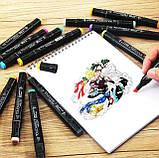 Маркери для скетчинга Touch Coco 48 кольорів для малювання і скетчинга на спиртовій основі в чохлі, фото 5