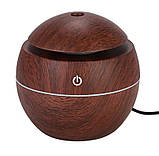 Мини-увлажнитель воздуха с подсветкой и зарядкой от USB Humidifier темно коричневый, фото 2