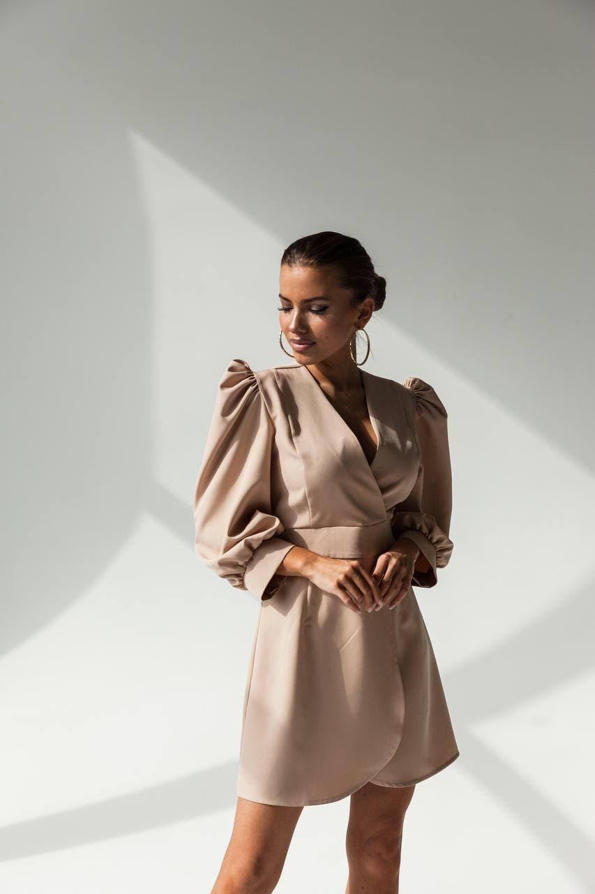 Плаття з запахом і рукавами-ліхтариками, з акцентом на грудях ошатне (р. S, M) 60032311