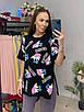 Подовжена футболка туніка з яскравим принтом трендова жіноча з розрізами з боків (р. 42-46) 33ut446, фото 3