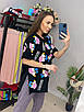 Подовжена футболка туніка з яскравим принтом трендова жіноча з розрізами з боків (р. 42-46) 33ut446, фото 4