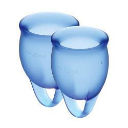 2 менструальные чаши 15мл и 20мл Satisfyer Feel Confident (Dark Blue) с мешочком для хранения
