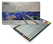 Олівці кольорові Raffine, Marco 12 кольорів в металевому корпусі (7100-12TN) (087900)