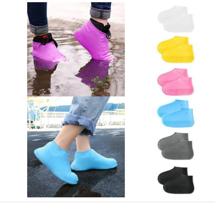 Силіконові водонепроникні чохли-бахіли для взуття від дощу і бруду.ЗАЛИШИЛИСЯ М - Блакитні ,S-жовті