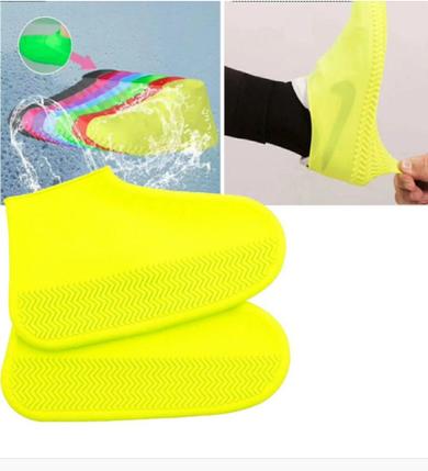 Силіконові водонепроникні чохли-бахіли для взуття від дощу і бруду.ЗАЛИШИЛИСЯ М - Блакитні ,S-жовті, фото 2