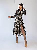Платье миди из сетки с узором с верхом на запах и разрезом на ноге (р. 42-44) 66mpl2301Е