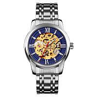 Часы механические Skmei 9222  Skeleton Silver Blue (5 bar), фото 1