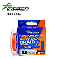 Шнур плетений Intech First Braid X4 Orange 100m (0.3 (6lb/2.72 kg))