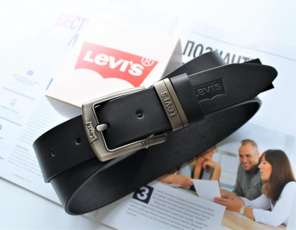 Кожаный мужской ремень Levis 501 black