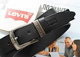 Кожаный мужской ремень Levis 501 black, фото 2