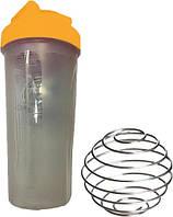 Шейкер спортивний Shake Bottle 700 мл. з вінчиком Прозоро-Оранжовий