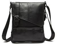 Стильна чоловіча шкіряна сумка Vintage 14848 Чорна, фото 1