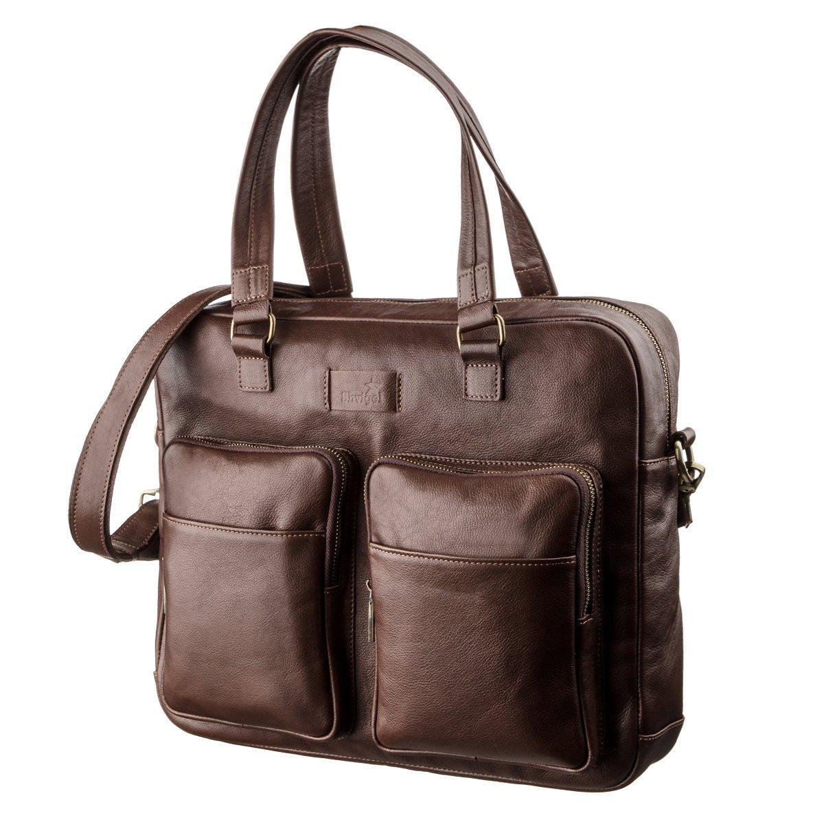 Чоловіча шкіряна сумка для ноутбука SHVIGEL 19109 Коричнева