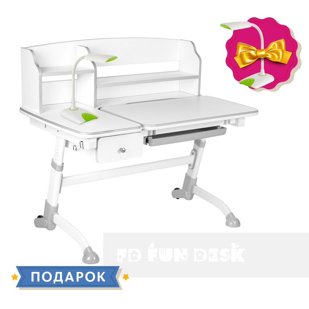 Дитяча парта для дома FunDesk Amare Grey II з висувною шухлядою