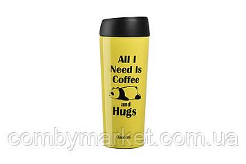 Термочашка Ardesto Coffee time Panda 450 мл желтая (AR2645DTY)
