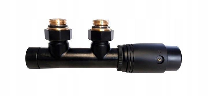 Термостатичний  комплект для нижнього підключення радіаторів Invena типу DUOPLEX, 50мм, чорний, CZ-91-015