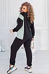 Спортивний костюм жіночий батал, двунить, р-р 48-50; 52-54; 56-58 (чорний+ментол), фото 2