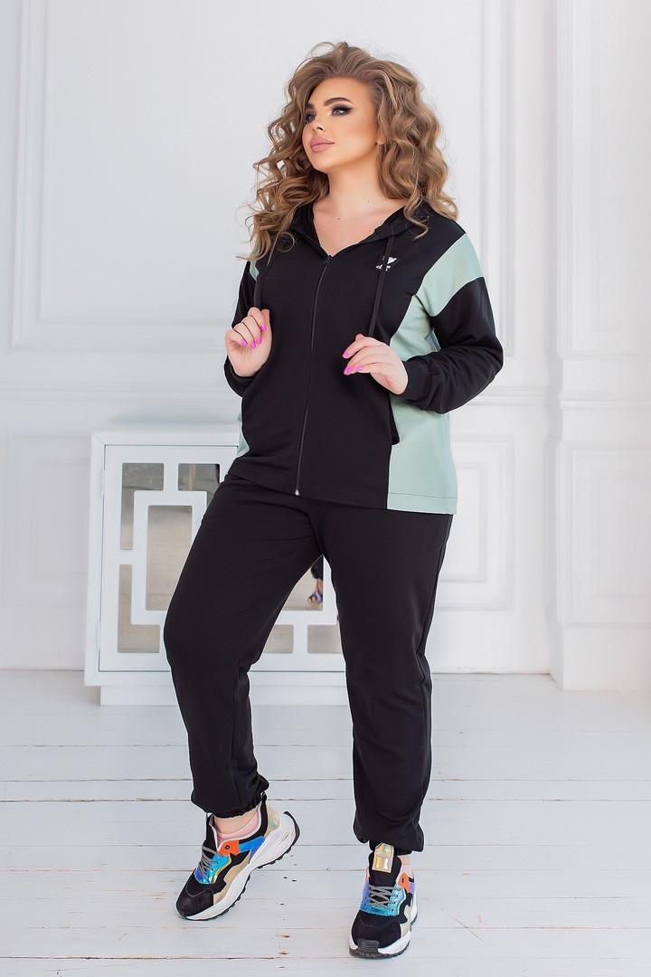 Спортивний костюм жіночий батал, двунить, р-р 48-50; 52-54; 56-58 (чорний+ментол)