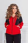 Женский спортивный костюм батал, двунить, р-р 48-50; 52-54; 56-58 (чёрный+красный), фото 4