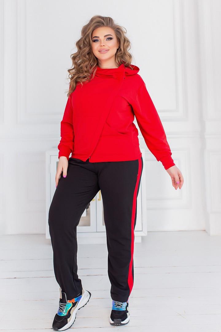 Спортивний костюм жіночий батал, двунить, р-р 48-50; 52-54; 56-58 (червоний)