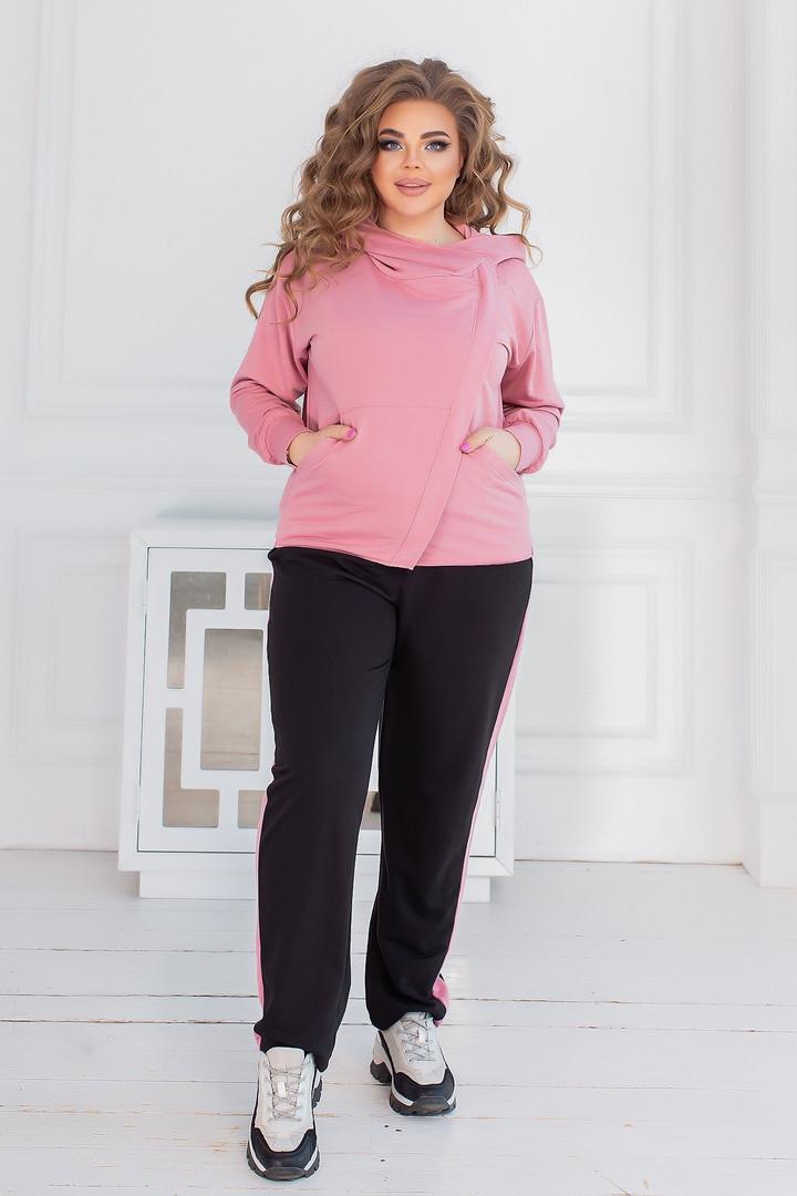 Спортивний костюм жіночий батал, двунить, р-р 48-50; 52-54; 56-58 (рожевий)