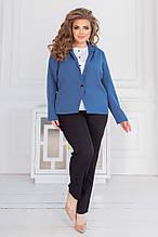 Жіночий костюм - трійка батал, костюмка + софт, р-р 50; 52; 54; 56 (джинс)