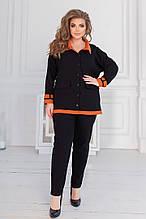 Жіночий костюм батал, джинс - бенгалин, р-р 48-50; 52-54; 56-58 (чорний)