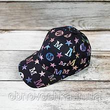 Женская кепка-бейсболка - черная с цветным принтом