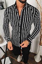 Мужская рубашка черная в белую полоску/2 цвета в наличии Черный, S