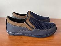 Туфлі чоловічі літні темно сині сітка ( код 912 ), фото 1