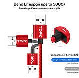 Магнітний кабель для зарядки Topk USB Type-C 1m 2.4 A 360° Червоний (TK51C-VER2-RD), фото 3