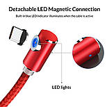 Магнітний кабель для зарядки Topk USB Type-C 1m 2.4 A 360° Червоний (TK51C-VER2-RD), фото 4