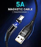 Магнитный кабель синхронизации Topk microUSB  QC3.0 1m 5A 360° нейлоновый Красный (TK08U-VER2-RD), фото 4
