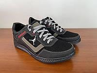 Туфлі мокасини чоловічі літні спортивні чорні сітка на шнурках (код 5521)