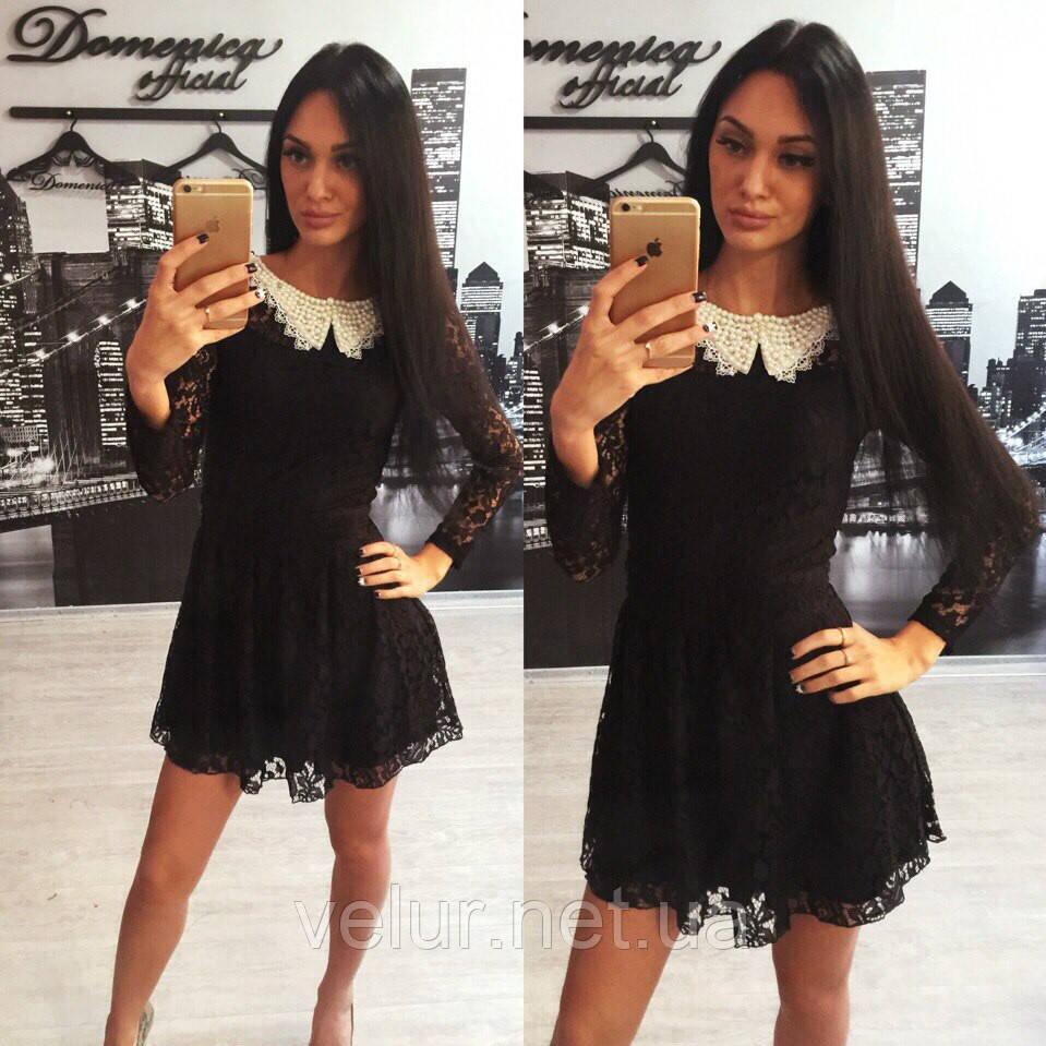 Черное клеш платье из кружева с воротничком - интернет- магазин