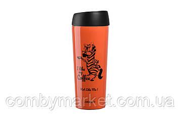 Термочашка Ardesto Coffee time Zebra 450 мл оранжевая (AR2645DTO)