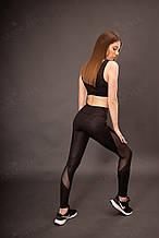 Женский спортивный комплект черный эластан с принтом камуфляж