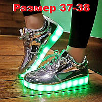 Светящиеся кроссовки зеркальные с зарядкой от USB. Женские LED кроссовки
