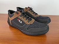 Туфлі мокасини чоловічі літні спортивні чорні сітка на шнурках (код 5522)