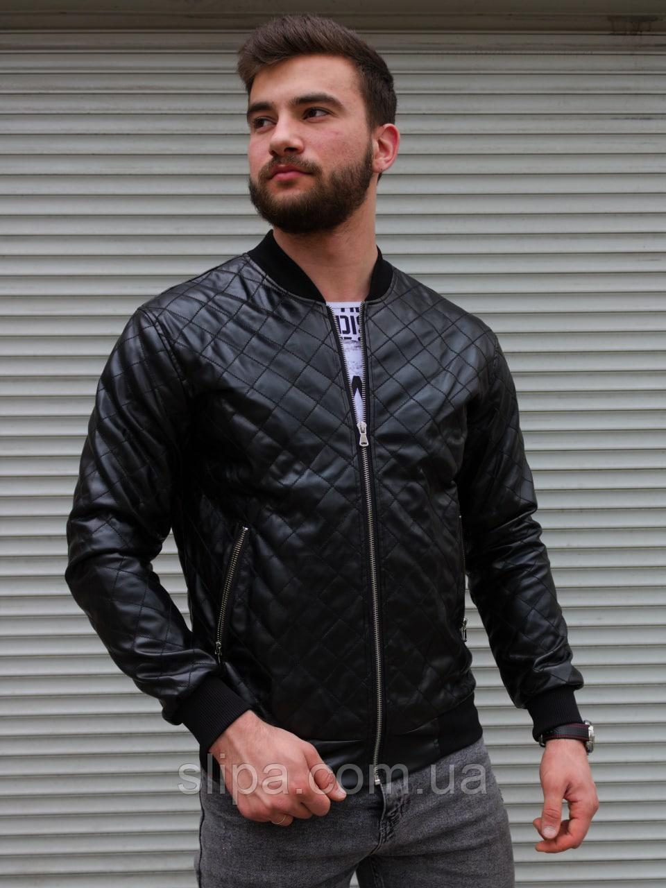 Чоловіча куртка-бомбер в Ромбик з шкір заступника чорна