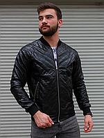 Чоловіча куртка-бомбер в Ромбик з шкір заступника чорна, фото 1