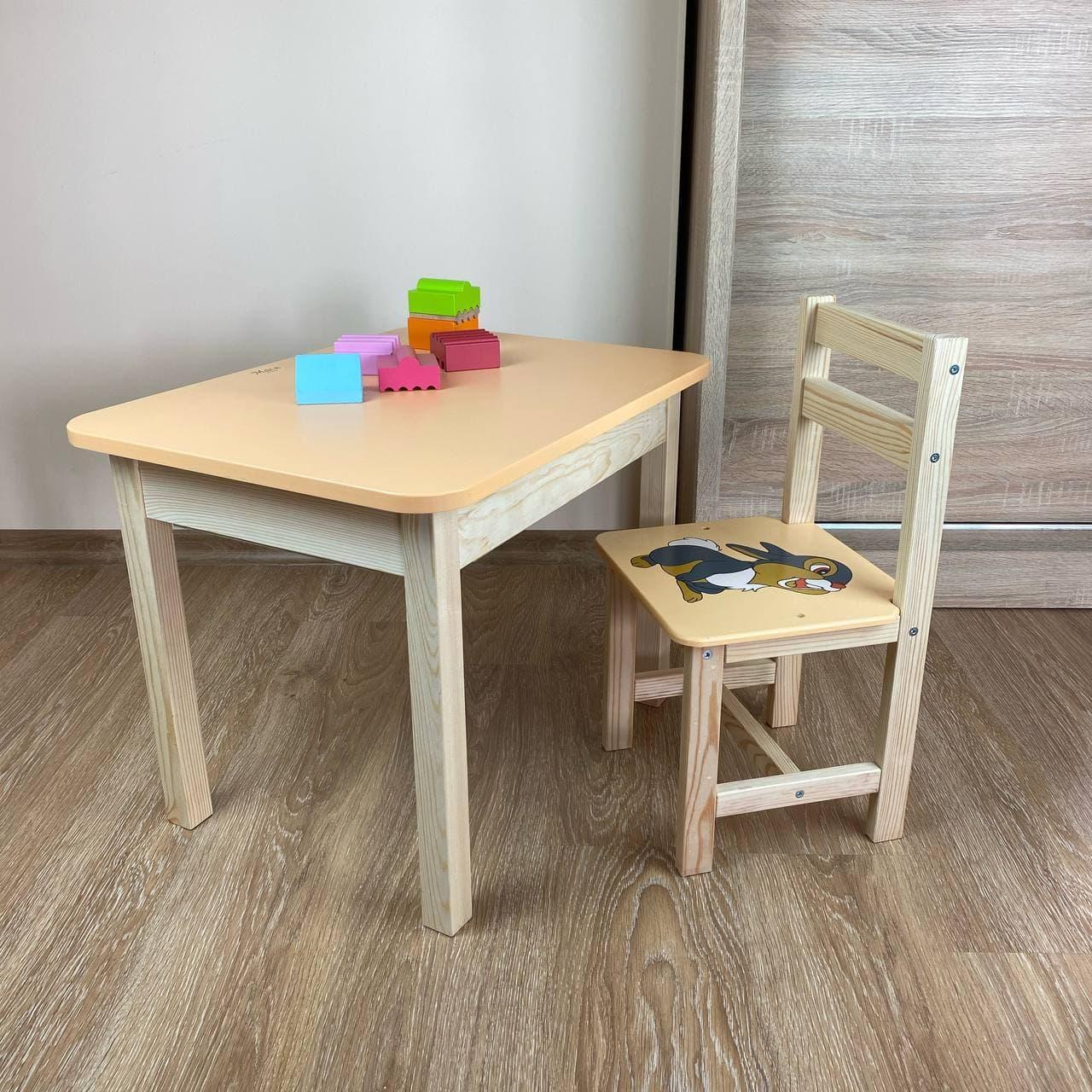 Дитячий стіл з ящиком і стільчик. Для навчання,малювання,гри