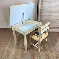 Дитячий стіл з ящиком і стільчик. Для навчання,малювання,гри, фото 2
