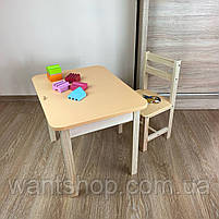 Дитячий стіл з ящиком і стільчик. Для навчання,малювання,гри, фото 3